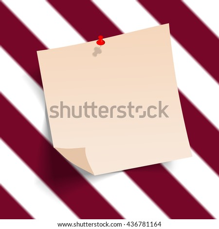 Note paper with pin on color background bord. ready for your customized text or images. Yellow stick note.