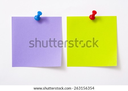 Note paper with pin on white background. - stock photo
