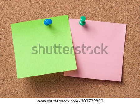 note paper with push pins on cork board ready for your text.