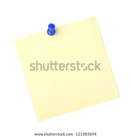 note paper with push pins on white background - stock photo