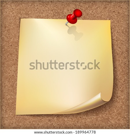 Note paper with red pin on cardboard background.  - stock photo