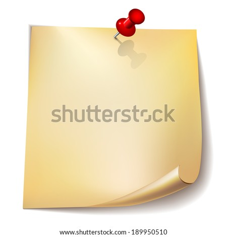 Note paper with red pin on white  background. - stock photo