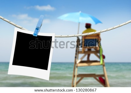 Note papers hooked on a rope. Beach background