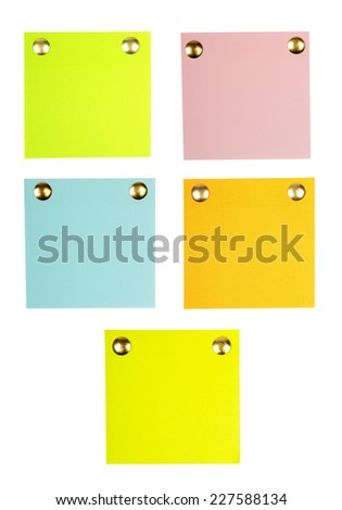 Note papers with pin isolated on white background. - stock photo