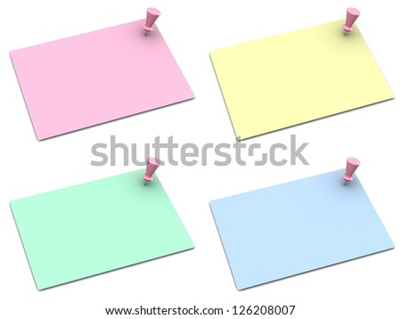 note papers with push pins on white background