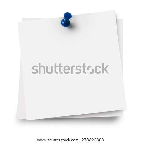 note papers with push pins on white background - stock photo