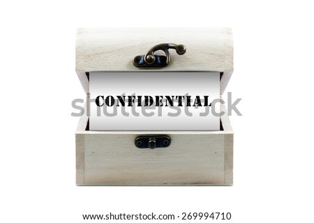 """Note with word """"CONFIDENTIAL"""" in wooden chest isolated on white background - stock photo"""