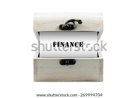 """Note with word """"FINANCE"""" in wooden chest isolated on white background - stock photo"""