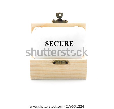 "Note with word ""SECURE"" in wooden chest isolated on white background - stock photo"