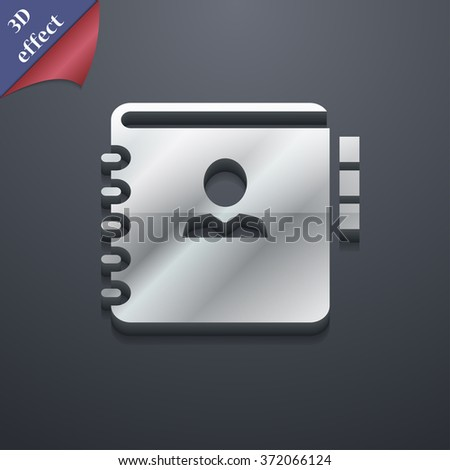 Notebook, address, phone book icon symbol. 3D style. Trendy, modern design with space for your text illustration - stock photo