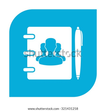 Notebook, address, phone book with pen icon. - stock photo
