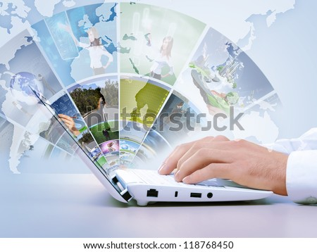 Notebook against white background with various images - stock photo
