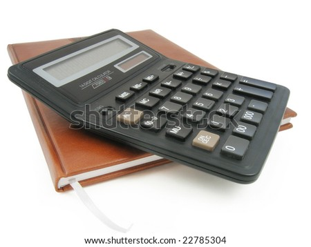 Notebook and calculator in white background