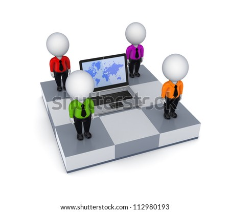 Notebook and 3d small people on chessboard.Isolated on white background.