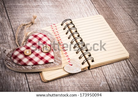 Notebook and decorations made from sustainable bamboo or recycled cardboard, text space - stock photo