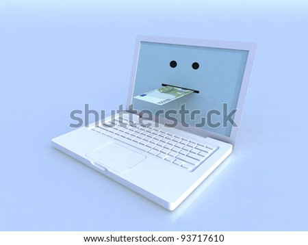 notebook and 100 euro banknote on blue screen, 3d illustration - stock photo