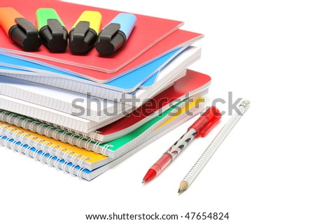 Notebook and felt-tip pen isolated on a white background - stock photo