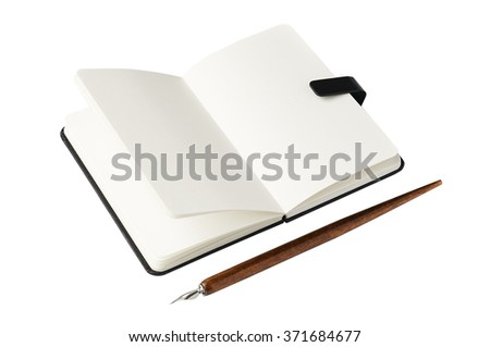 Notebook and ink pen isolated on white background