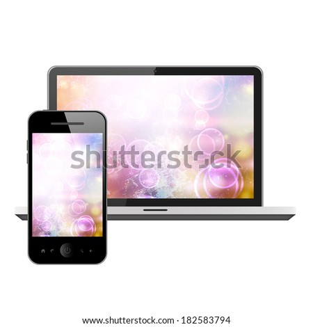 Notebook and mobile phone - stock photo