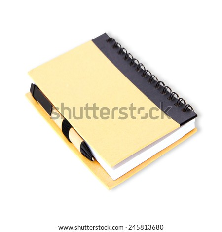 Notebook and paper pen on white - stock photo