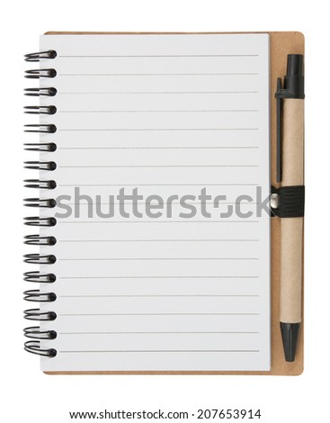 Notebook and pen. isolated on white,  file includes a excellent clipping path
