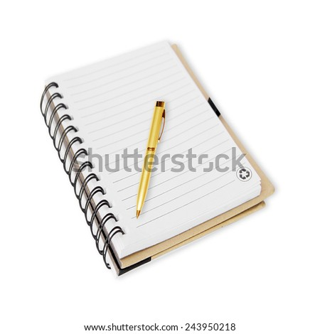 Notebook and pen on white - stock photo