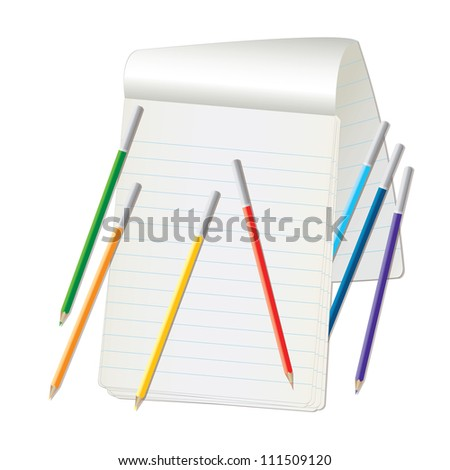 notebook and pencil colors of the rainbow - stock photo