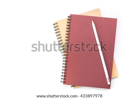 Notebook and pencil isolated on a white background - stock photo