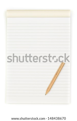 Notebook and pencil isolated on white - stock photo