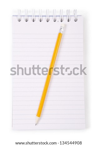 Notebook and pencil isolated on white background. - stock photo