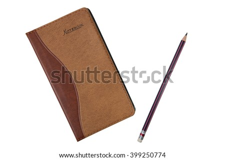 notebook and pencil isolated on white background - stock photo
