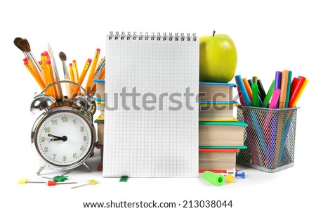 Notebook and school accessories. On a white background.