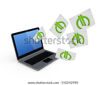 Notebook and symbol of euro.Isolated on white.3d rendered. - stock photo
