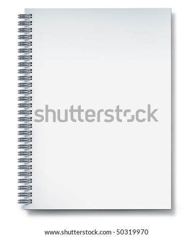 notebook blank with metal wire isolated on white - stock photo