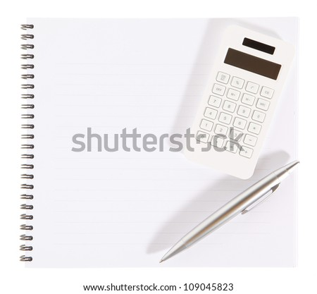 Notebook, calculator and pen