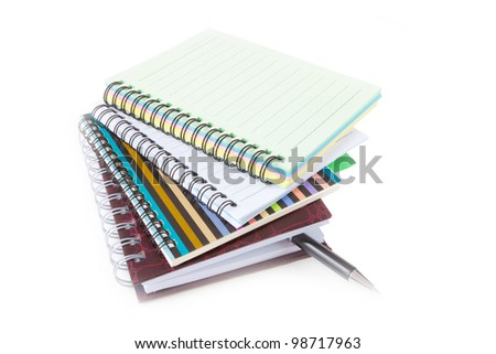 Notebook collection isolated on the white background