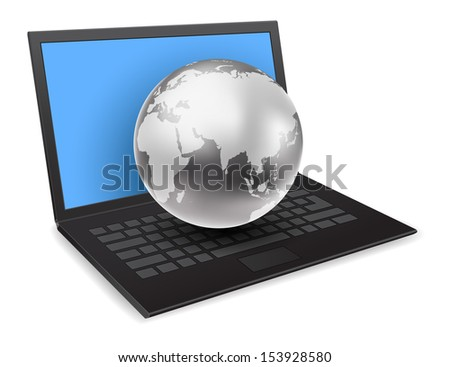 notebook computer with globe 3d