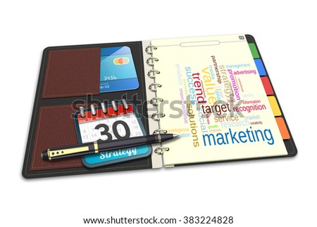 Notebook concept word cloud illustration of marketing strategy - stock photo