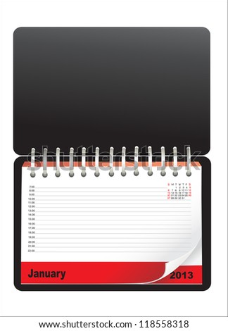 Notebook design with calendar - stock photo