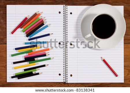 Notebook for records in line on the metal spiral. - stock photo