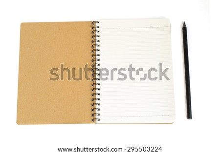Notebook from recycle paper and black pencil isolate on white with clipping path - stock photo