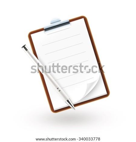 Notebook icon illustration with pen isolated. Paper page with lines folded. Blank sheet mock up. Waiter notepad template. Wooden diary with metal clip design. School shedule pocketbook. Jotter book.