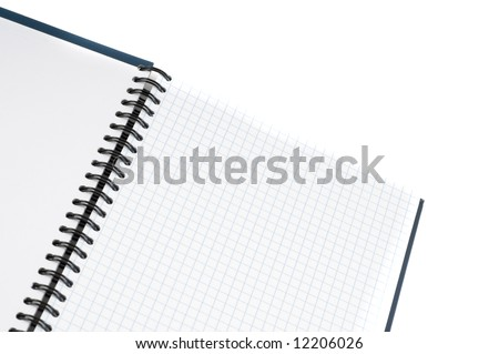Notebook in a cell. Isolation on white