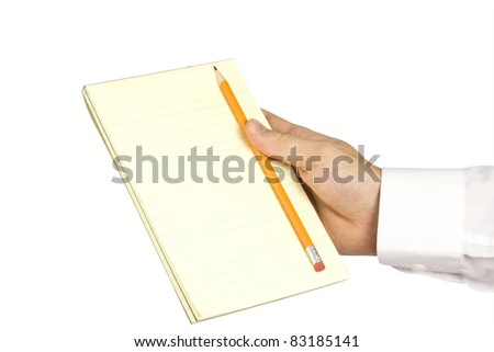 Notebook in hand isolated on white background
