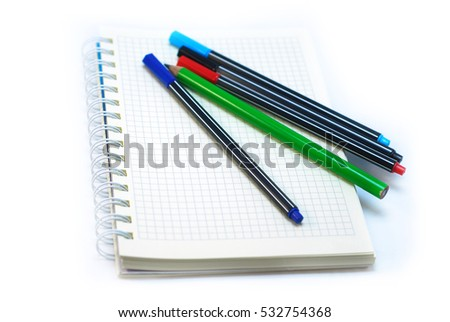 Notebook isolated on white background. color fountain pen.