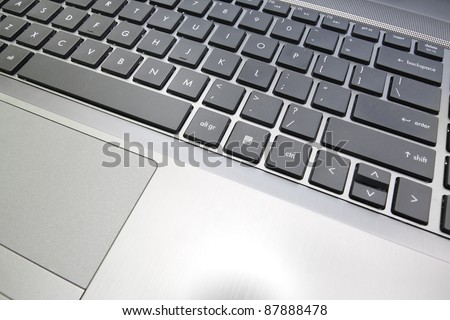 notebook laptop close up on a keyboard