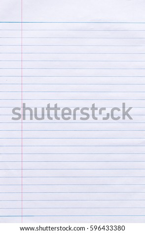 Blank White Paper Background Lined Page Stock Illustration