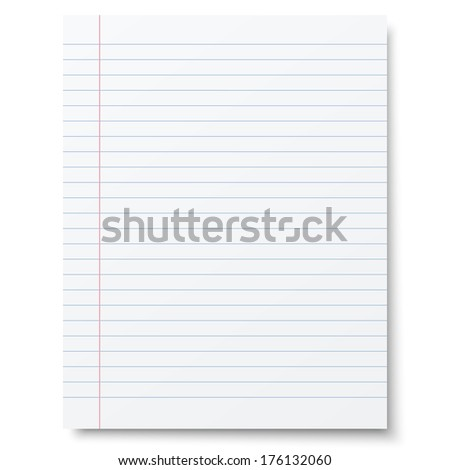 Notebook lined paper background. Raster version illustration. - stock photo