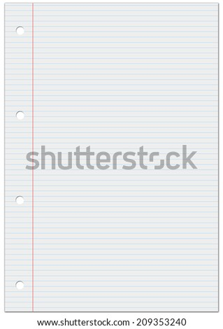 Notebook lined white paper. Space to text - stock photo
