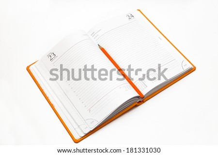 notebook on a white background, close-up